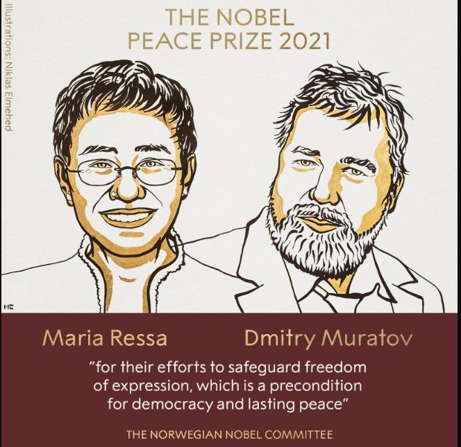 दुई पत्रकारले पाएशान्ति नोबेल पुरस्कार